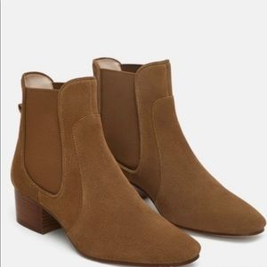 Zara Suede Leather Tan Chelsea Ankle Boot